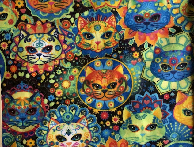 Sugar Skull Cats Adjustable Face Mask - MADE TO ORDER