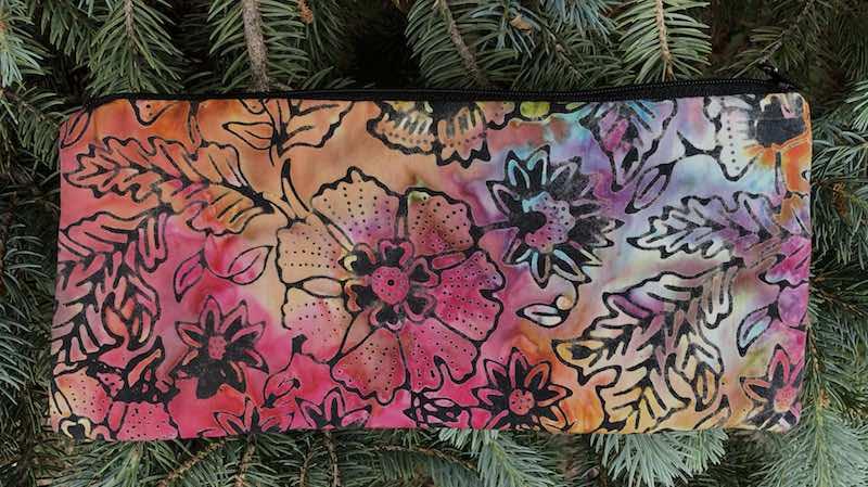 "Tropical Batik pouch for 8"" knitting needles or reusable utensils, The Deep Sleek"