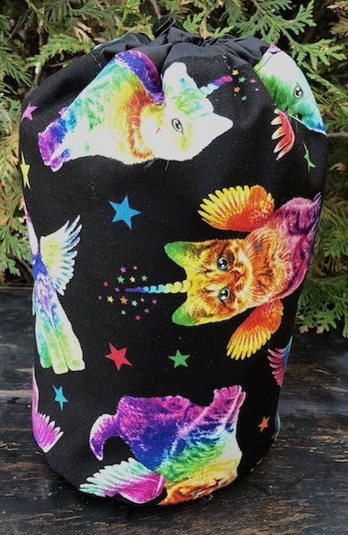 Unicorn Kitties SueBee Round Drawstring Bag