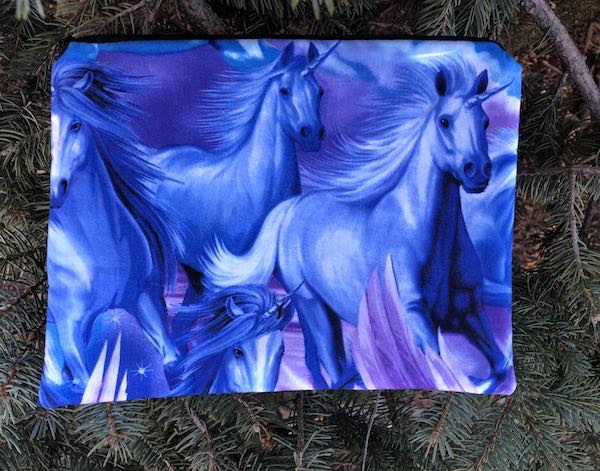 Blue Unicorns Supa Scribe extra large pencil case or makeup bag