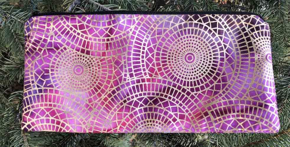 """Urban Ethic batik pouch for 8"""" knitting needles or reusable utensils, The Deep Sleek"""