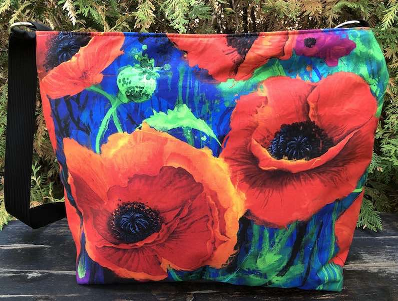 Watercolor Poppies Britta large zippered cross body purse