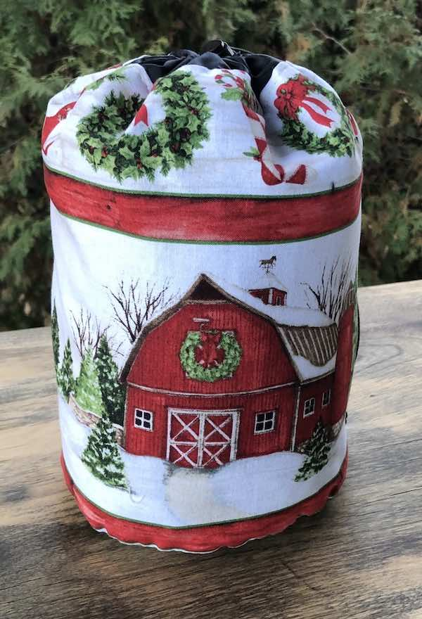 Winter Farm Stripe SueBee Round Drawstring Bag
