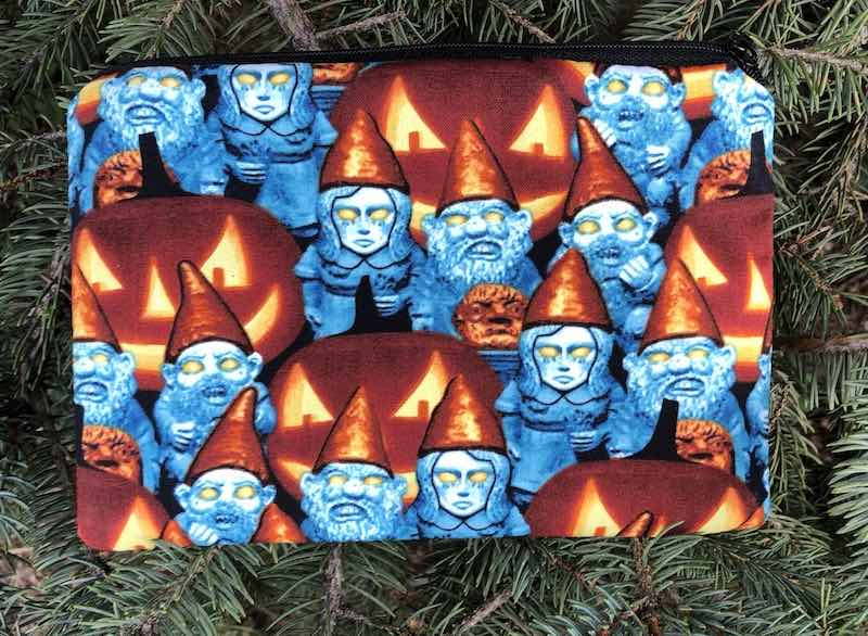 Zombie Gnomes zippered bag, The Scooter - glow in the dark faces