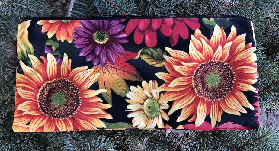 "Autumn Time pouch for 8"" knitting needles or reusable utensils, The Deep Sleek"