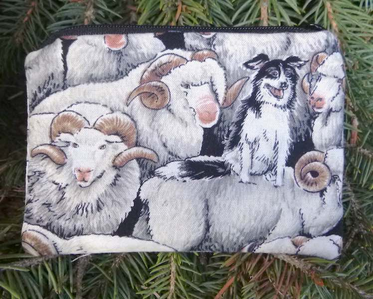 Border Collie and her Merinos Coin Purse, The Raven