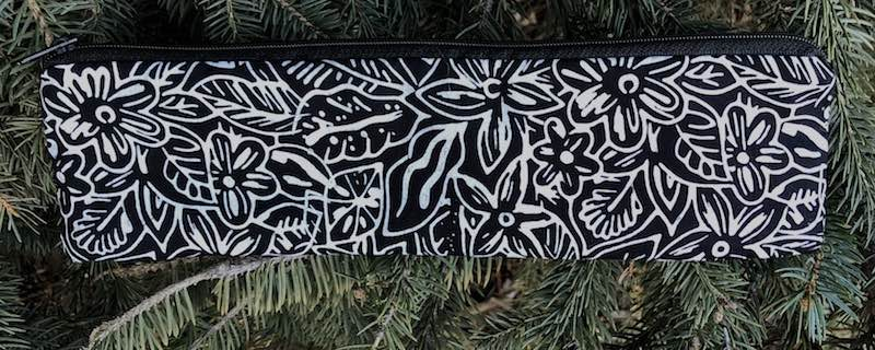 Black and White Floral Batik, a case to carry paper or reusable straws, The Strawz