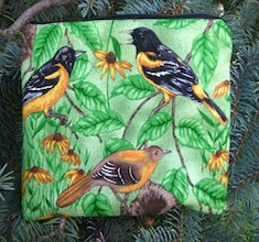 Baltimore Oriole zippered bag, The Scooter