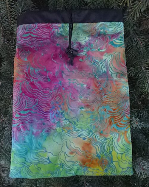 Batik Clouds Flatie Jr. a flat drawstring bag