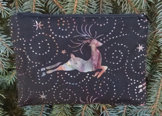 Reindeer on black batik zippered bag, The Scooter