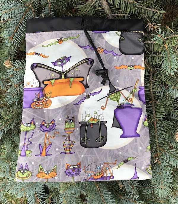 Bats, Cats and Vats Flatie Jr. a flat drawstring bag