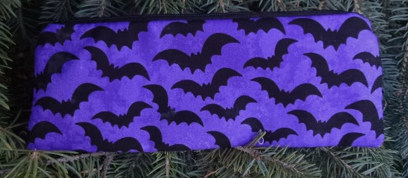 Bats on purple pen and pencil case, crochet hook pouch, The Scribe