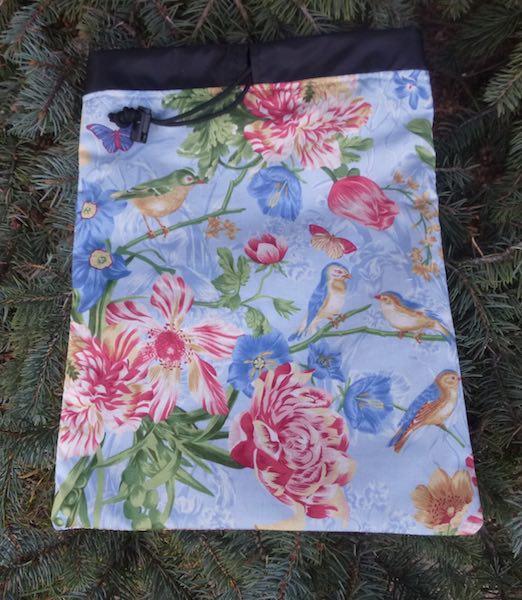 Birds and Flowers Flatie Jr. a flat drawstring bag