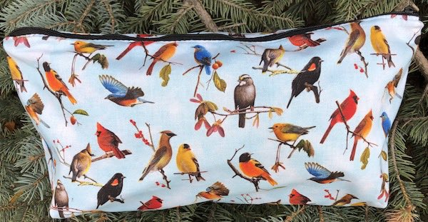Birds on Blue Large Zini Flat Bottom Bag