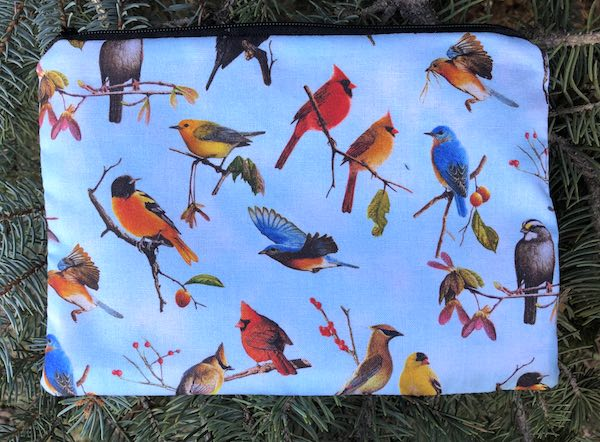 Birds on Blue zippered bag, The Scooter