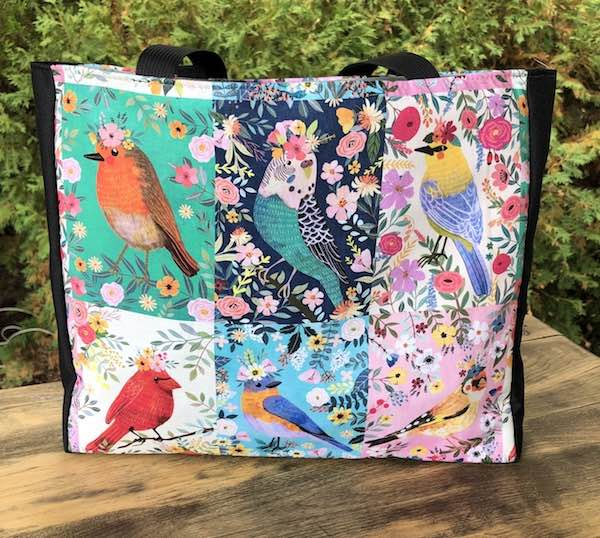 Bird Squares Medium Fleur Tote, wide