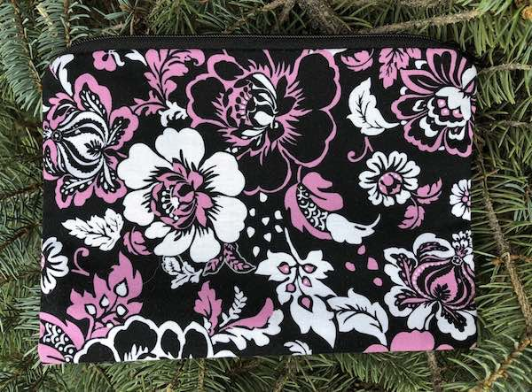 Pink and Black Floral zippered bag, The Scooter
