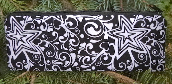 Black and White Stars pen and pencil case, crochet hook pouch, The Scribe