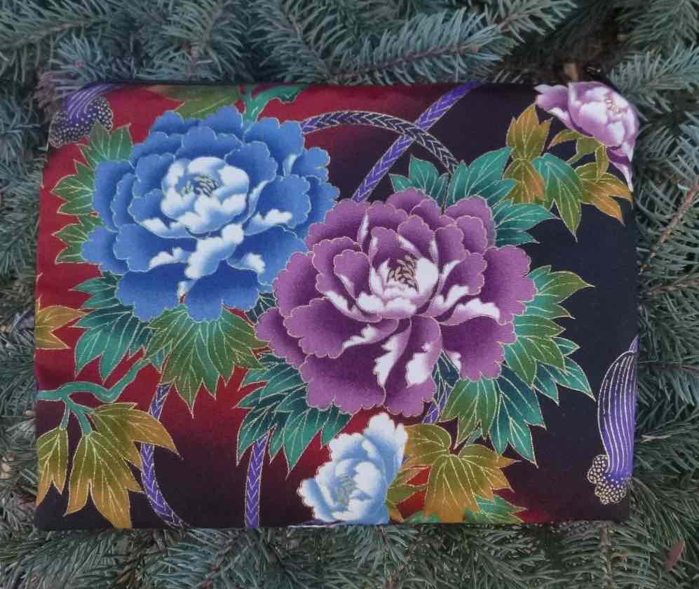Blue and Purple Peonies Slide Mahjongg card and coin purse