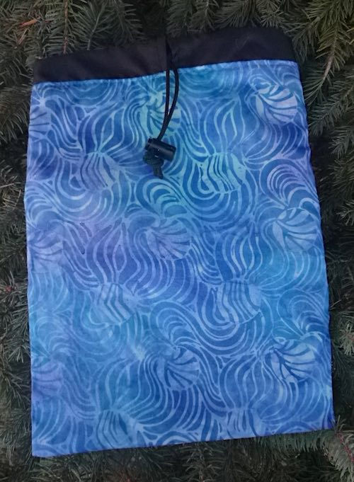 Blue batik swirls Flatie Jr. a flat drawstring bag