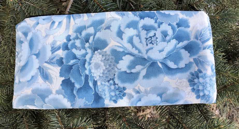 "Blue and Silver Peonies pouch for 8"" knitting needles or reusable utensils, The Deep Sleek"