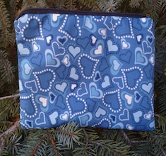 Blue hearts zippered bag, The Scooter-CLEARANCE