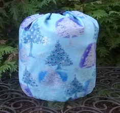 Blue Trees SueBee Round Drawstring Bag