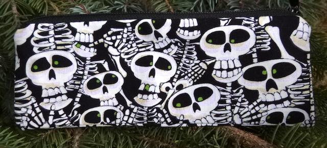 Bone Yard, glow in the dark, pen and pencil case, crochet hook pouch, The Scribe