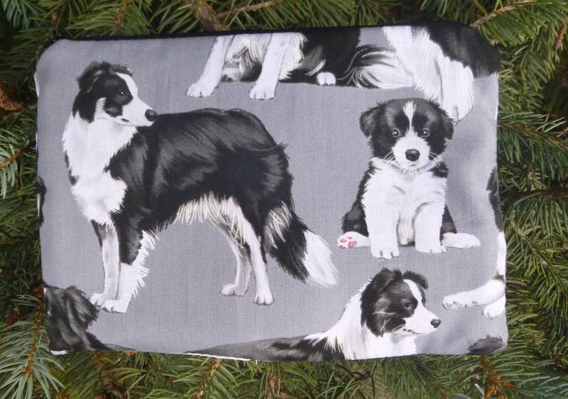 Border Collies on Gray zippered bag, The Scooter