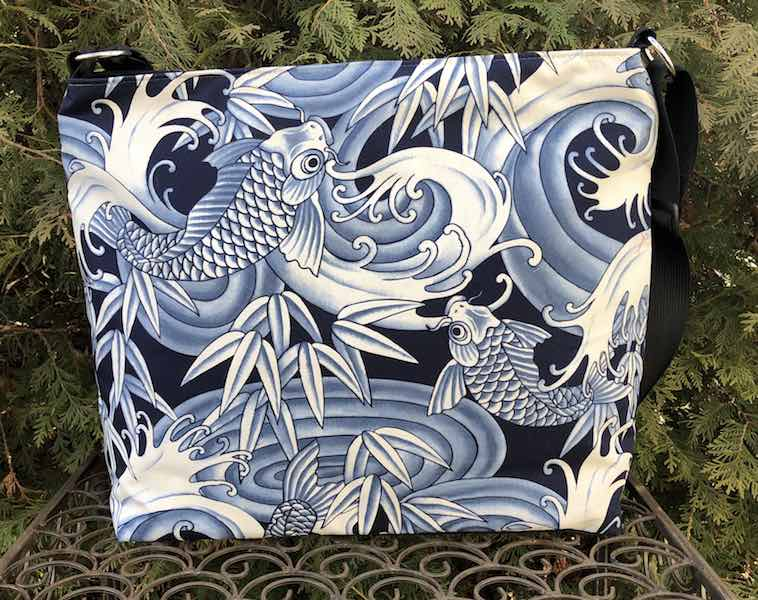 Blue Koi Britta Bag, a large zippered cross body purse
