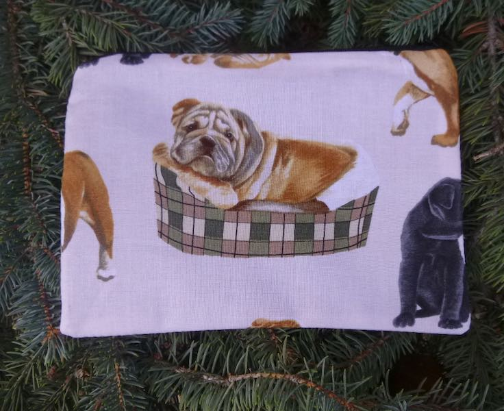 Bulldogs on cream zippered bag, The Scooter