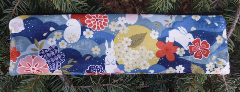 Japanese Bunnies and Flowers, case to carry paper or reusable straws, The Strawz