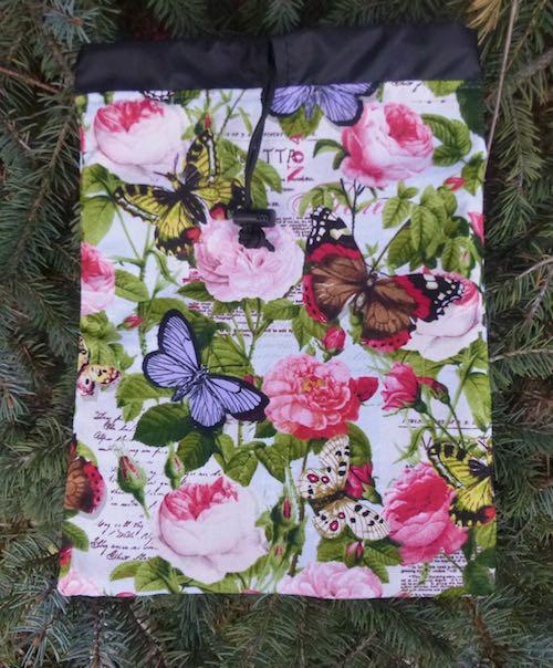 Butterflies and Flowers Flatie Jr. a flat drawstring bag
