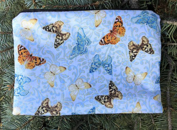 Butterflies on Blue zippered bag, The Scooter