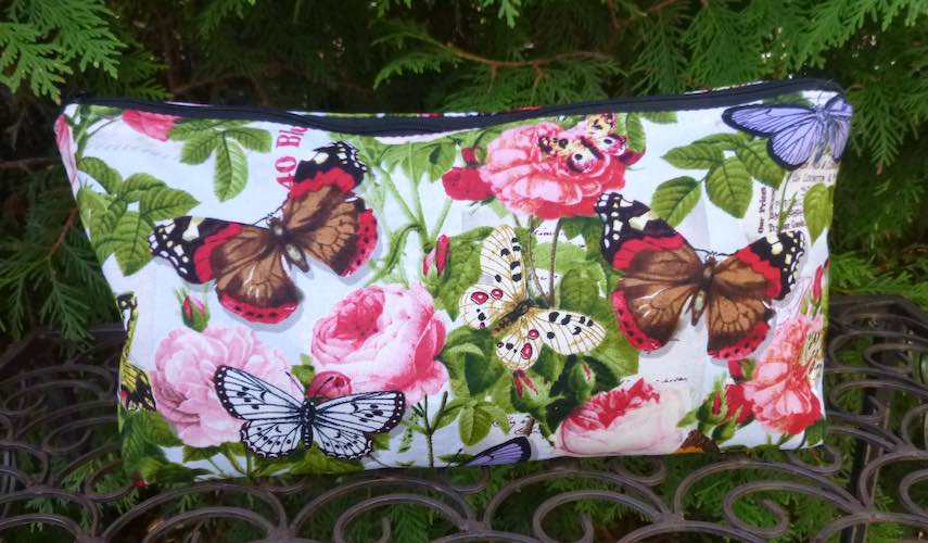 Butterflies and Flowers Large Zini Flat Bottom Bag