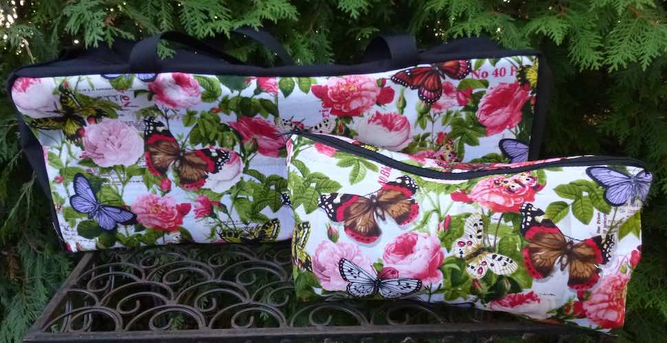 Butterflies and Flowers Mahjongg Storage Set The Zippered Tote-ster and Large Zini