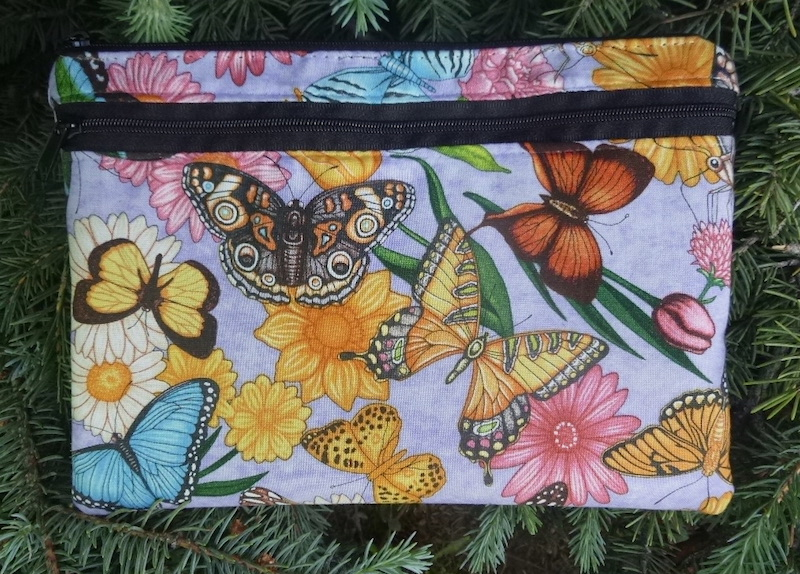 Butterflies on Purple Morning Glory convertible clutch wristlet or shoulder bag