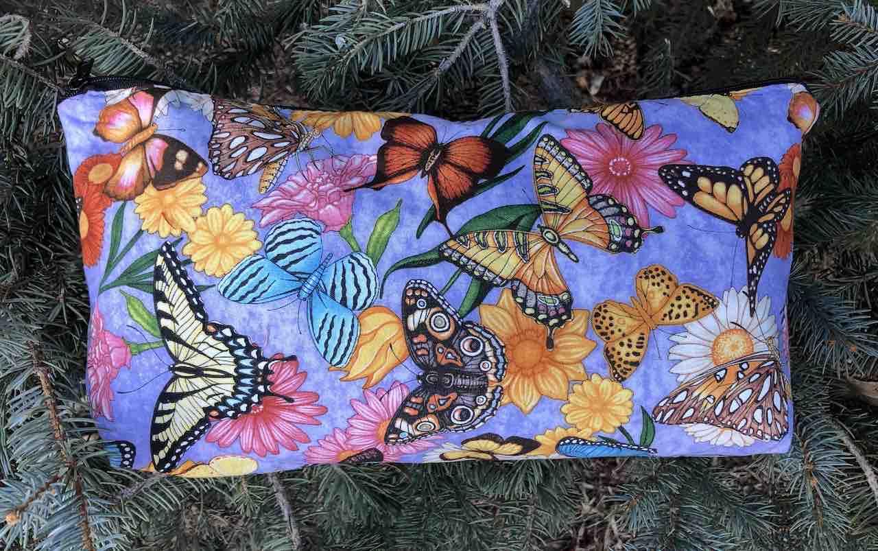 Butterflies on Purple Large Zini Flat Bottom Bag