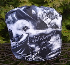 Monsters in Black and White SueBee Round Drawstring Bag