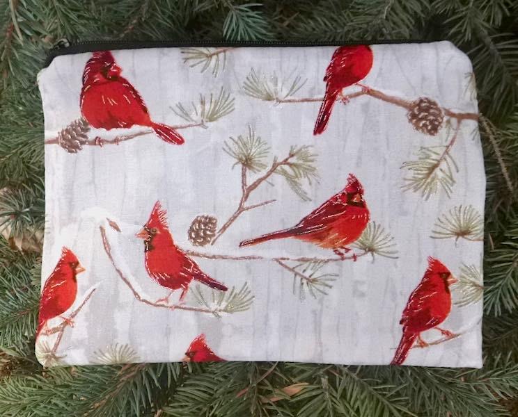 Winter Cardinals zippered bag, The Scooter
