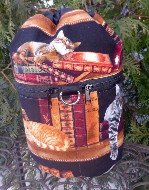 Cats and Books Kipster Knitting Project Bag