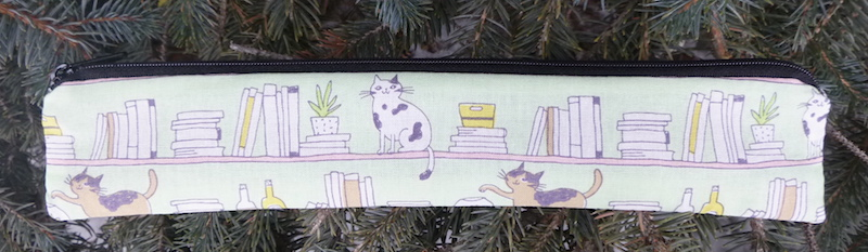 Cat's Bookshelf low profile case to carry a reusable straw, The Skinny Strawz