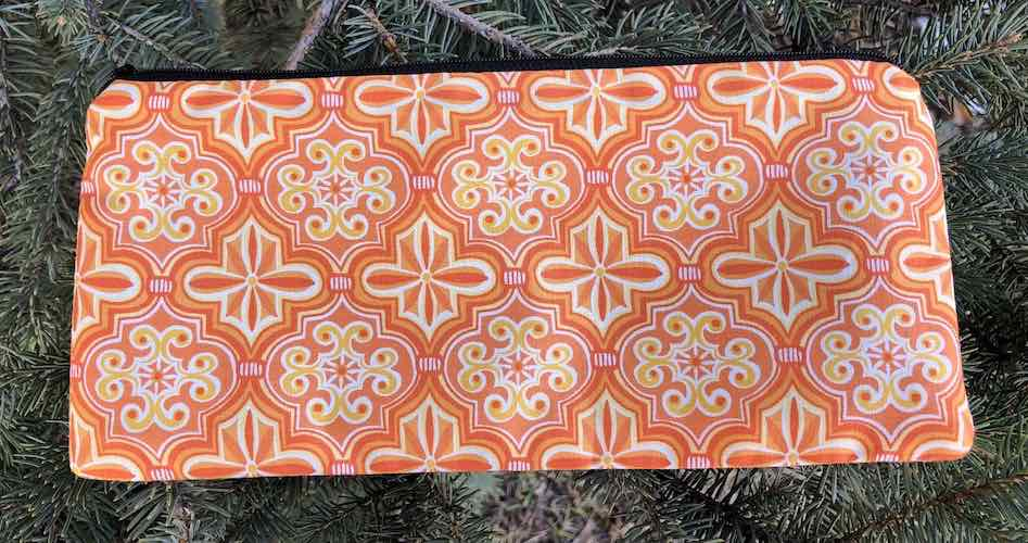 "Orange Abundance pouch for 8"" knitting needles or reusable utensils, The Deep Sleek"