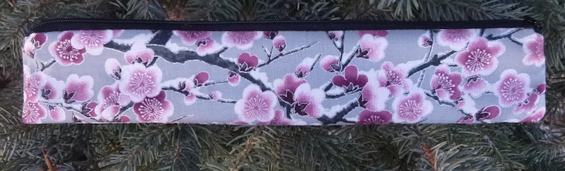 Cherry Blossoms on Gray low profile case to carry a reusable straw, The Skinny Strawz