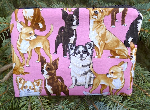 Chihuahua on pink zippered bag, The Scooter