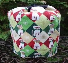 Chloe's Christmas SueBee Round Drawstring Bag