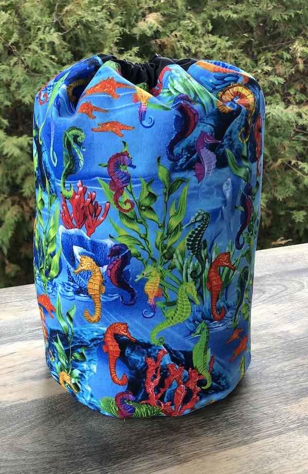 Colorful Seahorses drawstring bag, The Large Suebee