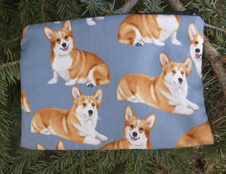 Corgis on Blue zippered bag, The Scooter