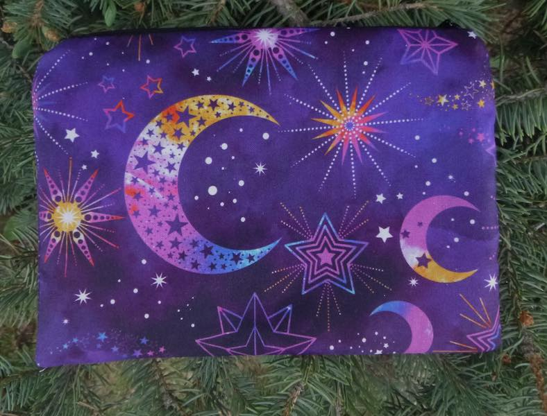 Cosmic Universe zippered bag, The Scooter, purple or blue