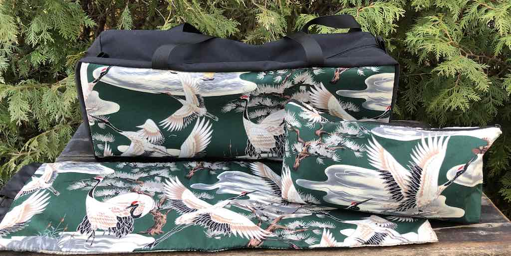 Cranes in green Deluxe Mahjongg Storage Set, The Zippered Tote-ster, Large Zini and Racker